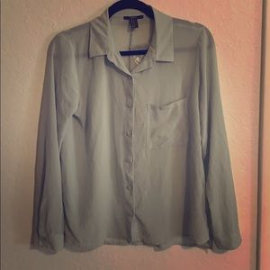 Forever 21 Sage Green Button Down Blouse
